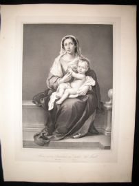 After Bartolome Esteban Murillo C1840 LG Folio Print. Madonna and Child